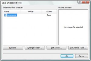 'Save Embedded Files' dialog box.